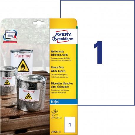 Etykiety Heavy Duty Avery Zweckform, A4, 10 ark./op., 210 x 297 mm, białe, poliestrowe
