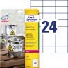 Etykiety Heavy Duty Avery Zweckform, A4, 20 ark./op., 70 x 37 mm, białe, poliestrowe