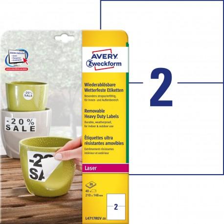 Usuwalne etykiety Heavy Duty Avery Zweckform, A4, 20 ark./op., 210 x 148mm, białe, poliestrowe