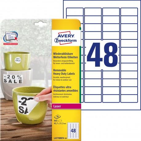 Usuwalne Etykiety Heavy Duty Avery Zweckform, A4, 20 ark./op., 45,7 x 21,2 mm, białe, poliestrowe