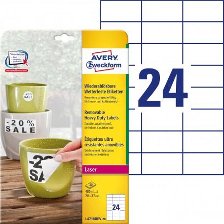 Usuwalne etykiety Heavy Duty Avery Zweckform, A4, 20 ark./op., 70 x 37 mm, białe, poliestrowe
