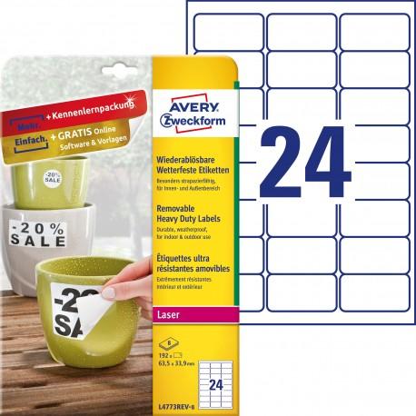 Usuwalne etykiety Heavy Duty Avery Zweckform, A4, 8 ark./op., 63,5 x 33,9 mm, białe, poliestrowe
