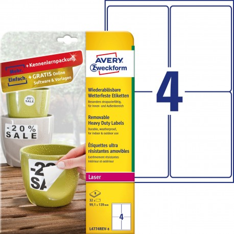Usuwalne etykiety Heavy Duty Avery Zweckform A4, 8 ark./op., 99,1 x 139 mm, białe, poliestrowe