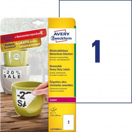 Usuwalne etykiety Heavy Duty Avery Zweckform, A4, 8 ark./op., 210 x 297 mm, białe, poliestrowe