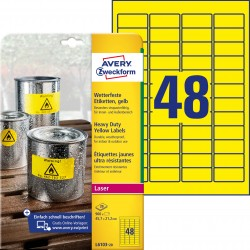 Etykiety Heavy Duty Avery Zweckform, A4, 20 ark./op., 45,7 x 21,2 mm, żółte, poliestrowe