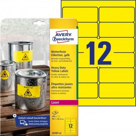 Etykiety Heavy Duty Avery Zweckform, A4, 20 ark./op., 99,1 x 42,3 mm, żółte, poliestrowe