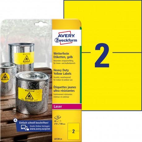 Etykiety Heavy Duty Avery Zweckform, A4, 20 ark./op., 210 x 148 mm, żółte, poliestrowe