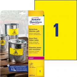 Etykiety Heavy Duty Avery Zweckform, A4, 20 ark./op., 210 x 297 mm, żółte, poliestrowe