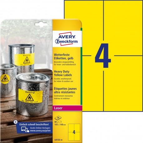 Etykiety Heavy Duty Avery Zweckform, A4, 20 ark./op., 105 x 148 mm, żółte, poliestrowe