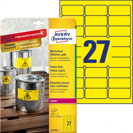 Etykiety Heavy Duty Avery Zweckform, A4, 8 ark./op., 63,5 x 29,6 mm, żółte, poliestrowe