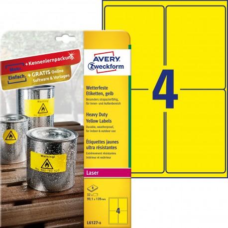 Etykiety Heavy Duty Avery Zweckform, A4, 8 ark./op., 99,1 x 139 mm, żółte, poliestrowe