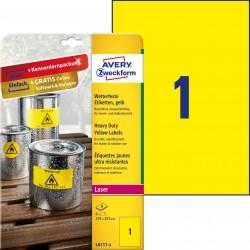 Etykiety Heavy Duty Avery Zweckform, A4, 8 ark./op., 210 x 297 mm, żółte, poliestrowe