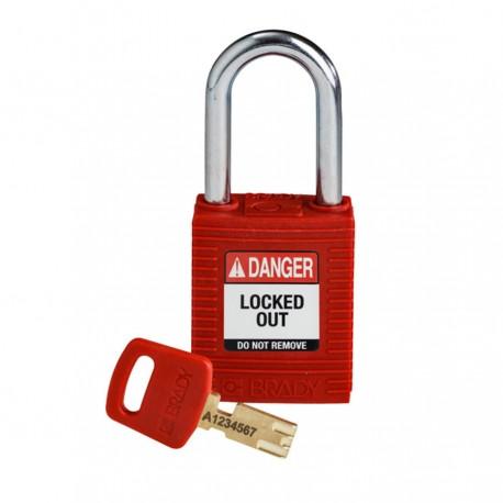 Kłódka BRADY, SafeKey, czerwona, ze stalowym kabłąkiem 38mm, różne klucze