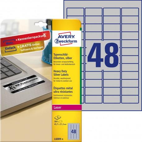 Etykiety znamionowe srebrne Avery Zweckform, A4, 8 ark./op., 45,7 x 21,2 mm, poliestrowe