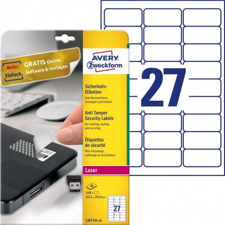 Etykiety zabezpieczające - plomby Avery Zweckform, A4, 20 ark./op., 63,5 x 29,6 mm, białe, poliestrowe