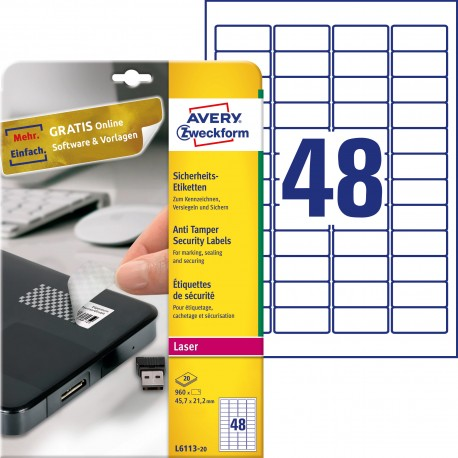 Etykiety zabezpieczające - plomby Avery Zweckform, A4, 20 ark./op., 45,7 x 21,2 mm, białe, poliestrowe