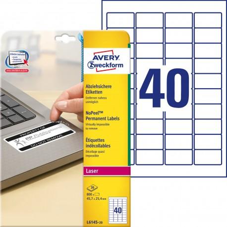 Etykiety NoPeel™ Avery Zweckform, A4, 20 ark./op., 45,7 x 25,4 mm, białe