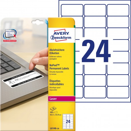 Etykiety NoPeel™ Avery Zweckform, A4, 20 ark./op., 63,5 x 33,9 mm, białe