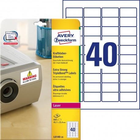 Etykiety TripleBond™ Avery Zweckform, A4, 20 ark./op., 45,7 x 25,4 mm, białe