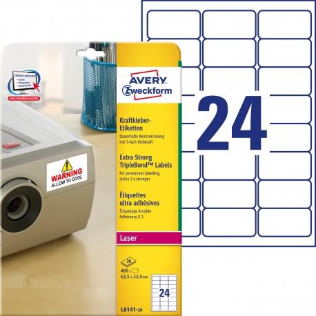 Etykiety TripleBond™ Avery Zweckform, A4, 20 ark./op., 63,5 x 33,9 mm, białe