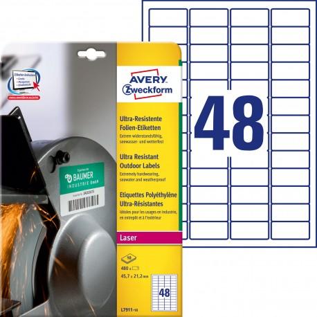 Etykiety polietylenowe ultra resistant Avery Zweckform, A4, 10 ark./op., 45,7 x 21,2mm, białe