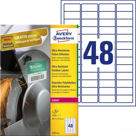 Etykiety polietylenowe ultra resistant Avery Zweckform, A4, 40 ark./op., 45,7 x 21,2mm, białe