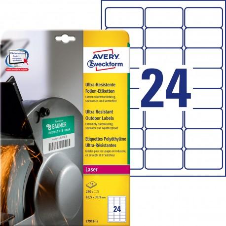 Etykiety polietylenowe ultra resistant Avery Zweckform, A4, 10 ark./op., 63,5 x 33,9mm, białe
