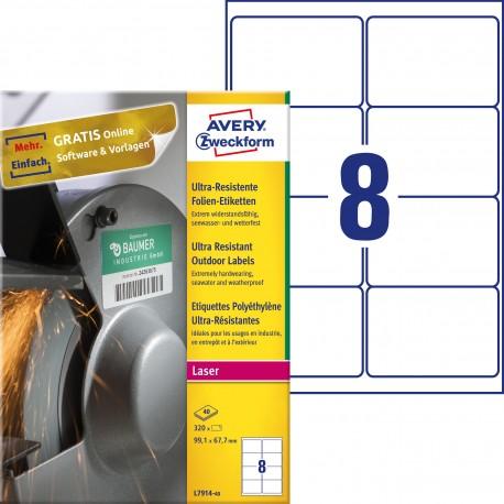 Etykiety polietylenowe ultra resistant Avery Zweckform, A4, 40 ark./op., 99,1 x 67,7mm, białe
