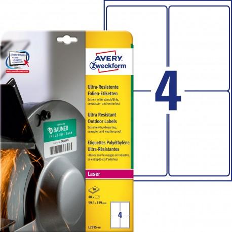 Etykiety polietylenowe ultra resistant Avery Zweckform, A4, 10 ark./op., 99,1 x 139 mm, białe