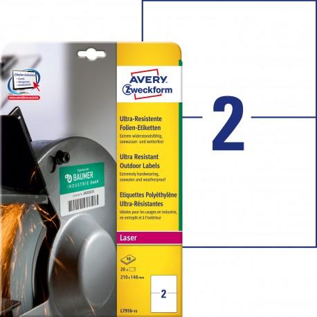 Etykiety polietylenowe ultra resistant Avery Zweckform, A4, 10 ark./op., 210 x 148 mm, białe