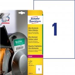 Etykiety polietylenowe ultra resistant Avery Zweckform, A4, 10 ark./op., 210 x 297 mm, białe