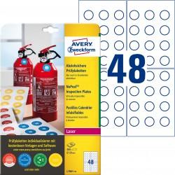 Tabliczki inspekcyjne NoPeel Ø20mm 480 szt. Avery Zweckform L7801-10