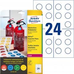Tabliczki inspekcyjne NoPeel Ø30mm 240 szt. etykiety avery L7802-10