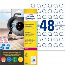 Usuwalne tabliczki inspekcyjne Ø20mm 480 szt. Avery Zweckform L7803-10