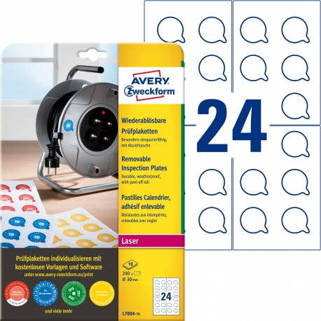 Usuwalne tabliczki inspekcyjne Ø30mm 240 szt. etykiety Avery L7804-10