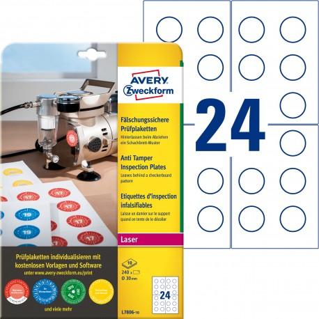 Avery L7806-10 Etykiety inspekcyjne - plomby Ø30mm 240 szt.