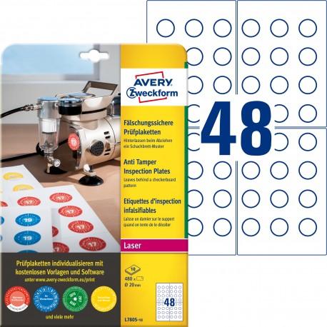 Tabliczki inspekcyjne plomby Avery Zweckform, A4, 10 ark./op., 480 et./op., Ø20mm, białe