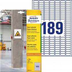 Etykiety papierowe do trudnych powierzchni Avery Zweckform, A4, 20 ark./op., 25,4 x 10 mm, białe