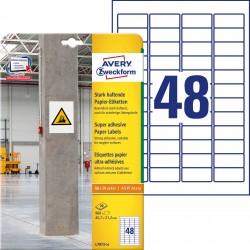 Etykiety papierowe do trudnych powierzchni Avery Zweckform, A4, 20 ark./op., 45,7 x 21,2mm, białe