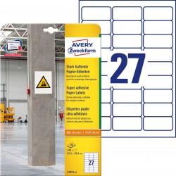 Etykiety papierowe do trudnych powierzchni Avery Zweckform, A4, 20 ark./op., 63,5 x 29,6 mm, białe