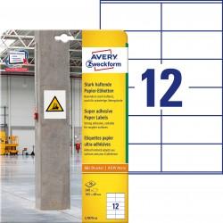 Etykiety papierowe do trudnych powierzchni Avery Zweckform, A4, 20 ark./op., 105 x 48 mm, białe