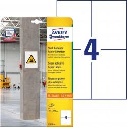 Etykiety papierowe do trudnych powierzchni Avery Zweckform, A4, 20 ark./op., 105 x 148 mm, białe