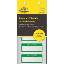 Srebrne, poliestrowe tabliczki inwentaryzacyjne do opisu ręcznego Avery Zweckform, 50 x 20mm, zielone ramki, 1 pole na tekst