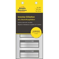 Tabliczki inwentaryzacyjne aluminiowe do opisu ręcznego, Avery Zweckform, 50 x 20mm, czarne ramki, 2 pola na tekst