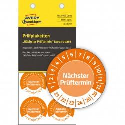 Tabliczki inspekcyjne NoPeel na lata 21-26, do opisu ręcznego, Ø30, pomarańczowe, 80 sztuk, Avery Zweckform