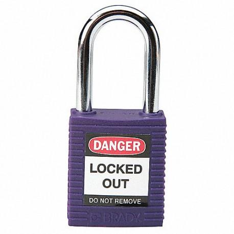 Kłódka lockout BRADY 813637, fioletowa, ze stalowym kabłąkiem 38mm