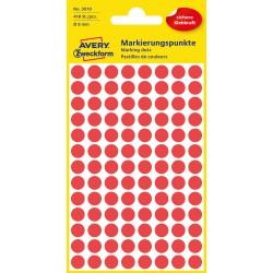 Kolorowe kółka do zaznaczania Avery Zweckform, 416 etyk./op., Ø8 mm, czerwone