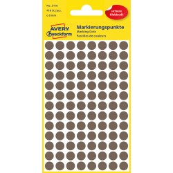 Kolorowe kółka do zaznaczania Avery Zweckform, 416 etyk./op., Ø8 mm, brązowe