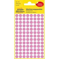 Kolorowe kółka do zaznaczania Avery Zweckform, 416 etyk./op., Ø8 mm, jasnoróżowe