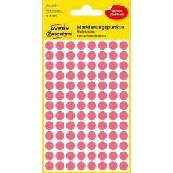 Kolorowe kółka do zaznaczania Avery Zweckform, 416 etyk./op., Ø8 mm, czerwone odblaskowe